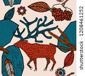 winter forest seamless pattern | Shutterstock .eps vector #1208461252