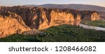 Yellow River Stone Forest of Jingtai, Gansu Province China. National Geopark, Danxia Landform. China travel, famous natural exotic landscape. Sandstone towers, large canyon dry desert valley