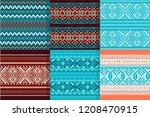 set seamless knitting pattern... | Shutterstock .eps vector #1208470915