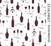 seamless pattern of wine...   Shutterstock .eps vector #1208478115