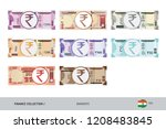 rupee banknotes set. flat style ... | Shutterstock .eps vector #1208483845
