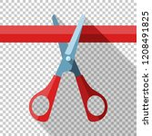 scissors in flat style with... | Shutterstock .eps vector #1208491825
