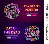 day of the dead website banners.... | Shutterstock .eps vector #1208501662