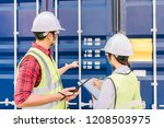 asian foreman and staff woman... | Shutterstock . vector #1208503975