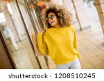 pretty young black woman with... | Shutterstock . vector #1208510245