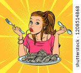 woman eating spaghetti. comic... | Shutterstock .eps vector #1208514868