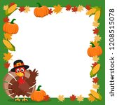 turkey in a hat waving his wing ... | Shutterstock .eps vector #1208515078