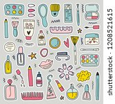 cute doodle illustration with... | Shutterstock .eps vector #1208521615