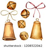 watercolor christmas bells set. ... | Shutterstock . vector #1208522062