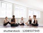 group at yoga sport seminar in... | Shutterstock . vector #1208537545