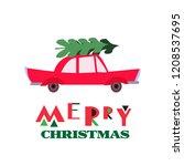 christmas car with fir tree ...   Shutterstock .eps vector #1208537695