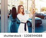 young beauty woman make selfie... | Shutterstock . vector #1208544088