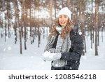 beautiful winter portrait of... | Shutterstock . vector #1208546218