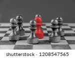 red chess piece surrounded by... | Shutterstock . vector #1208547565