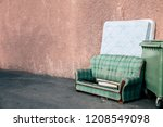 old sofa and mattress thrown... | Shutterstock . vector #1208549098