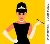 cartoon audrey hepburn. vector... | Shutterstock .eps vector #1208550022