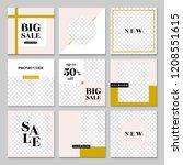 a set of nine editable square...   Shutterstock .eps vector #1208551615