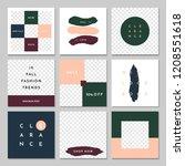 a set of nine editable square... | Shutterstock .eps vector #1208551618