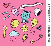 set of colorful girly doodle... | Shutterstock .eps vector #1208556295