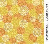 vector retro flowers texture.... | Shutterstock .eps vector #1208569795
