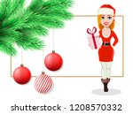 merry christmas postcard with... | Shutterstock .eps vector #1208570332