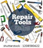 repair tools banner in hand... | Shutterstock .eps vector #1208580622