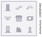 outline 9 property icon set.... | Shutterstock .eps vector #1208585482