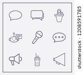 outline 9 communicate icon set. ...   Shutterstock .eps vector #1208591785
