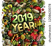 2019 hand drawn doodles... | Shutterstock .eps vector #1208620078
