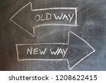 old way  new way written on... | Shutterstock . vector #1208622415