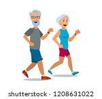 senior age couple running. cool ... | Shutterstock .eps vector #1208631022