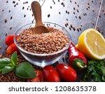 bowl of buckwheat kasha on...   Shutterstock . vector #1208635378