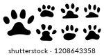 pets footprint. cat paws prints ... | Shutterstock .eps vector #1208643358