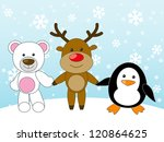 Bear  Deer And Penguin Holding...