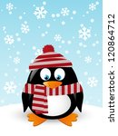 Christmas Card With Cute Penguin