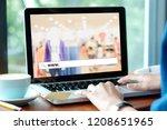 hand tying labtop computer with ...   Shutterstock . vector #1208651965