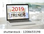 laptop computer with 2019... | Shutterstock . vector #1208653198