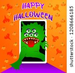 greeting card with a monster... | Shutterstock .eps vector #1208666185