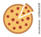 whole pepperoni pizza pie with... | Shutterstock .eps vector #1208666338