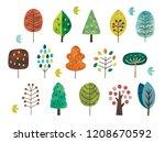 scandinavian cute trees | Shutterstock .eps vector #1208670592