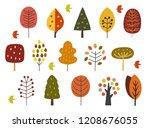 scandinavian autumn trees | Shutterstock .eps vector #1208676055