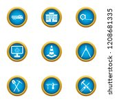 work driveway icons set. flat... | Shutterstock .eps vector #1208681335