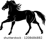 Stock vector horse galloping silhouette 1208686882