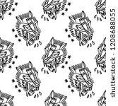 wolf traditional tattoo... | Shutterstock .eps vector #1208688055