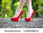 sexy female  high heeled red... | Shutterstock . vector #120868852