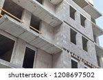 apartment building block under... | Shutterstock . vector #1208697502