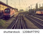 many railway tracks at a... | Shutterstock . vector #1208697592