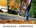 man working with  leaf blower ... | Shutterstock . vector #1208699662