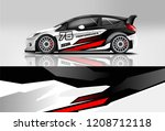 racing hatchback car wrap decal ... | Shutterstock .eps vector #1208712118