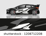 racing hatchback car wrap decal ...   Shutterstock .eps vector #1208712208